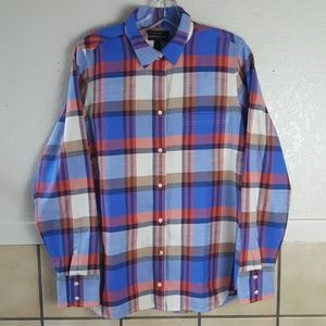 J Crew Boy blue and red flannel Size 10 EUC